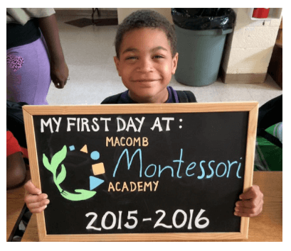Macomb Montessori Academy students were happy after walking the red carpet into their school on the first day!