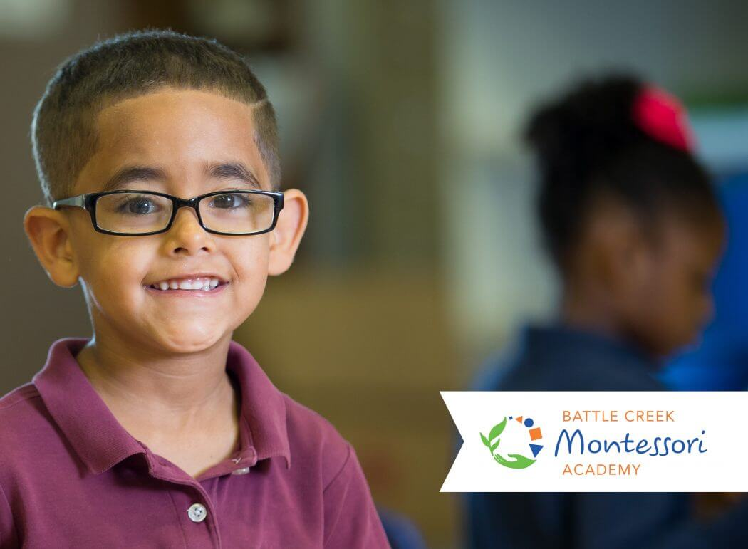 A photo of a child in a promotion for Battle Creek Montessori