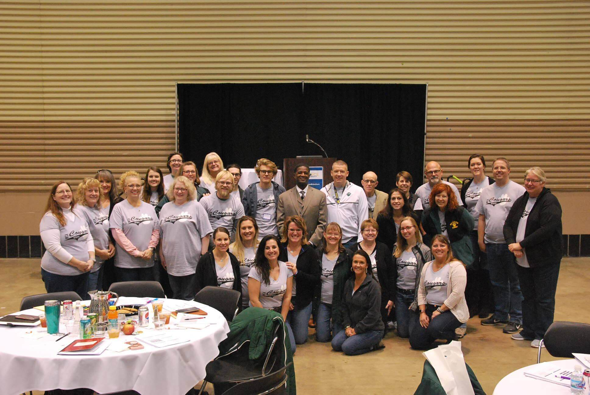 Choice U - WCA staff posing with guest speaker