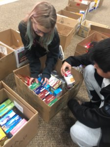 Students sorting food donations