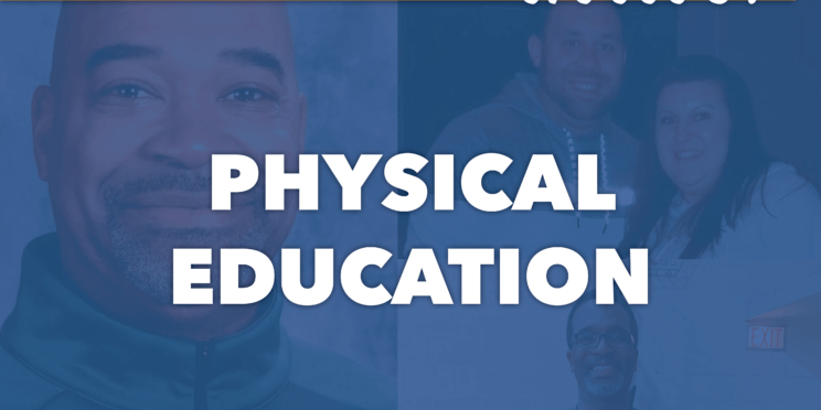 All of our communities thrive, physical education. Pictured behind words are three P.E. teachers