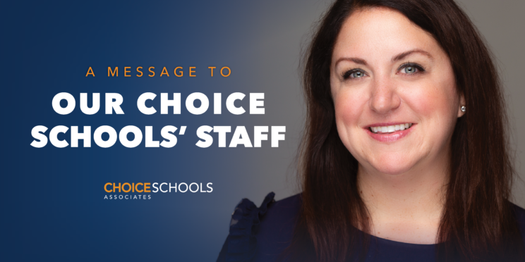 A message to our choice schools' staff - with an image of Sara Wildey